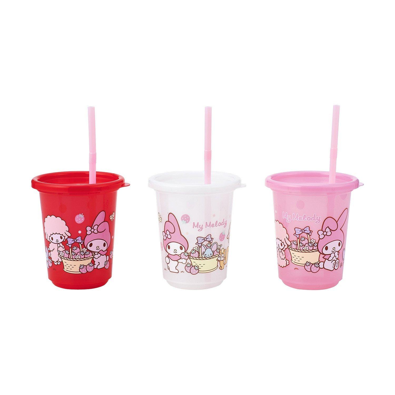 X射線【C175105】美樂蒂塑膠吸管杯(3入),水瓶/隨身瓶/直飲水壺/學習杯/漱口杯/果汁杯/日本製