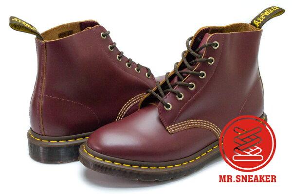 ☆Mr.Sneaker☆Dr.Martens馬汀101ARCHIVE6孔硬皮櫻桃紅酒紅男段台灣公司正品