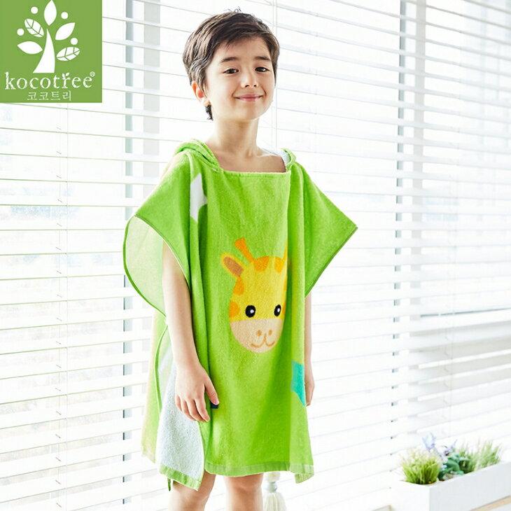 Lemonkid◆可愛動物長頸鹿卡通造型兒童連帽浴袍-綠色
