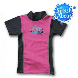 《Splash About 潑寶》UV Close Fit 兒童抗 UV 防曬泳衣 - 棕櫚樹/桃紅│上衣