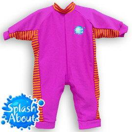 《Splash About 潑寶》UV All in One 嬰兒抗 UV 連身泳衣 - 桃紅 / 芒果橘條紋