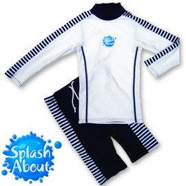 《Splash About 潑寶》UV Close Fit 兒童抗 UV 游泳套裝 - 藍白條紋