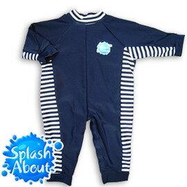 《Splash About 潑寶》UV All in One 嬰兒抗 UV 連身泳衣 - 海軍藍 / 藍白條紋