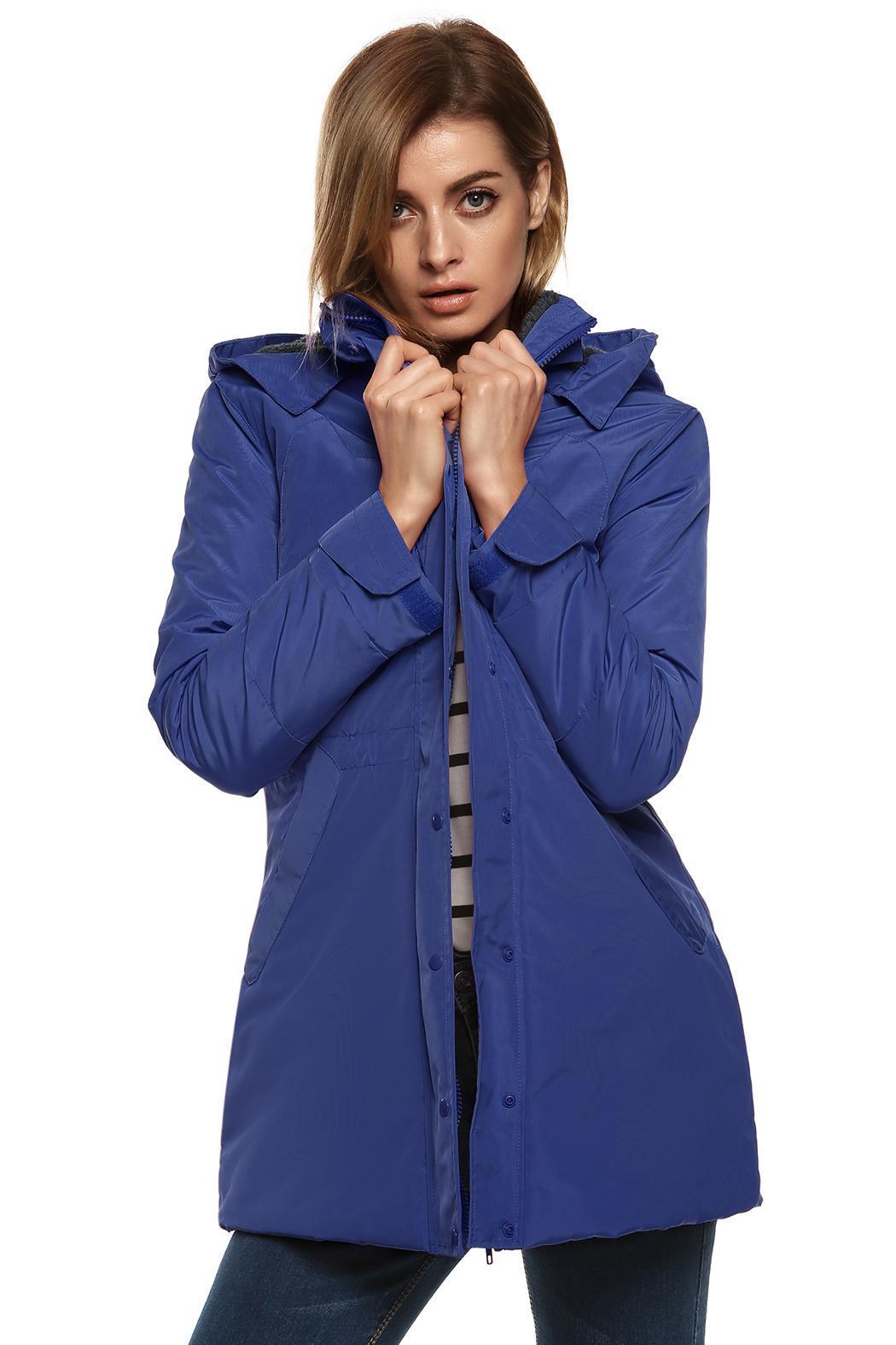 Women Casual Hooded Waterproof Windproof Long Coat Outwear 2