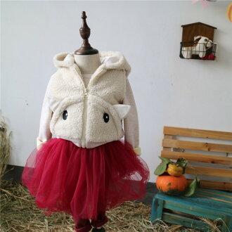 冬季新品韓國 男女童加厚羊羔毛卡通小羊拉鍊背心**現貨**