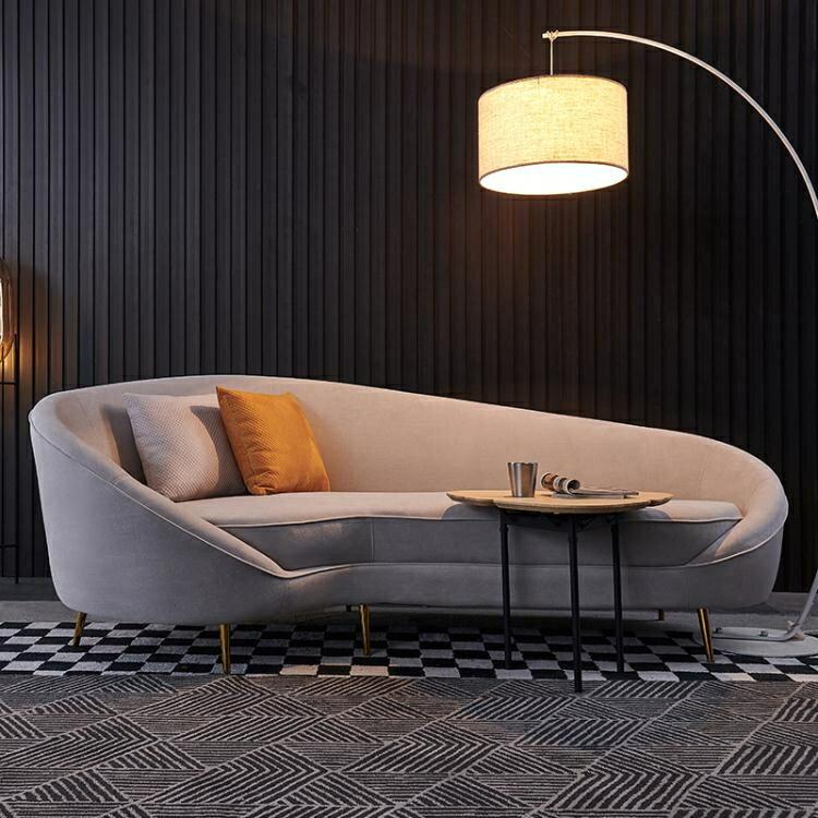樂天優選-沙髮 後現代輕奢布藝沙髮 簡約北歐弧形客廳組合 時尚個性港式異型傢俱家