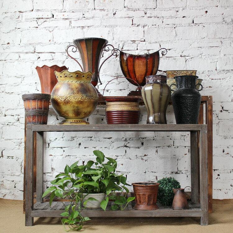 歐式復古花瓶仿古董樣花盆器 鐵藝做舊 銹感 櫥窗陳列 家居裝飾品1入