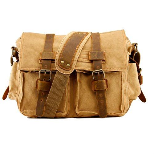 Men s Vintage Canvas and Leather Satchel School Military Shoulder Bag  Messenger - Khaki 0 10fd592248
