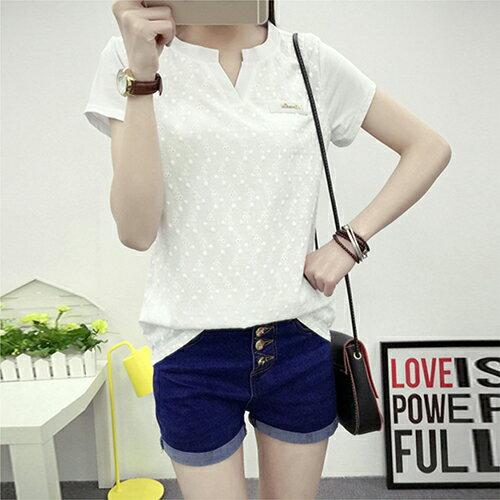 [零碼現貨出清] 刺繡純棉短袖T恤 (白色,M~2XL) - ORead 自由風格