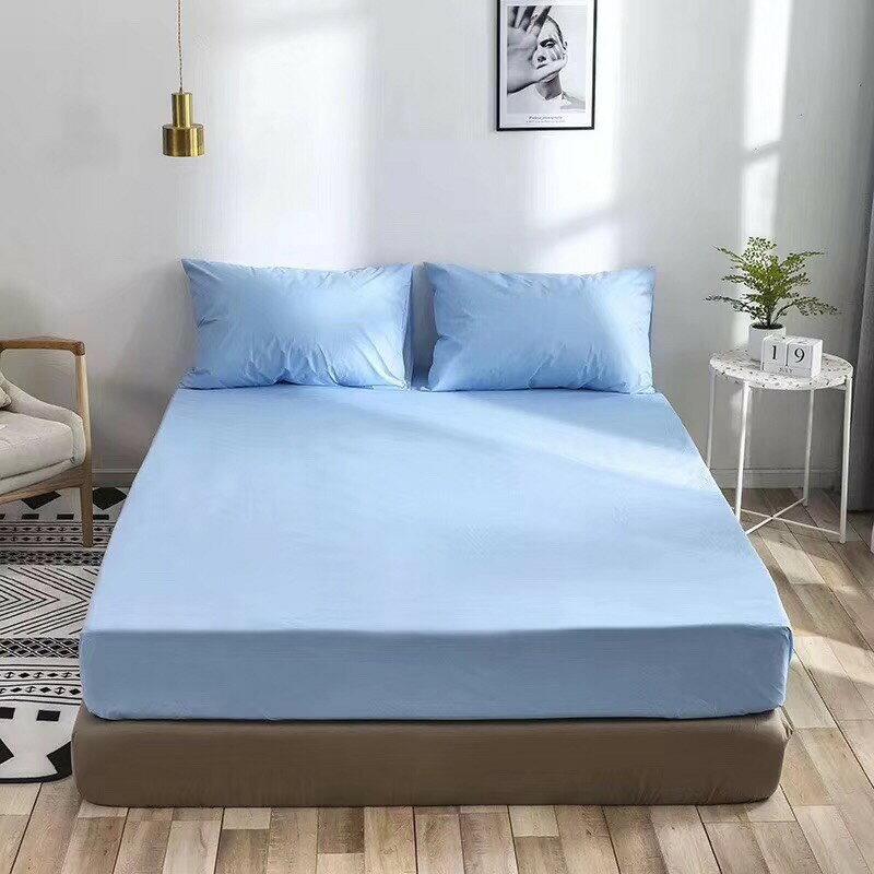 [滿額免運]100%防水 吸濕排汗床包保潔墊|枕套 MIT台灣製造(淺藍)[艾拉寢飾]