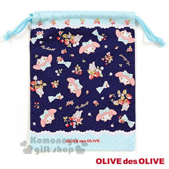 〔小禮堂〕美樂蒂 X OLIVE des OLIVE 日製棉質束口袋《M.藍.草莓.抱兔子.點點》