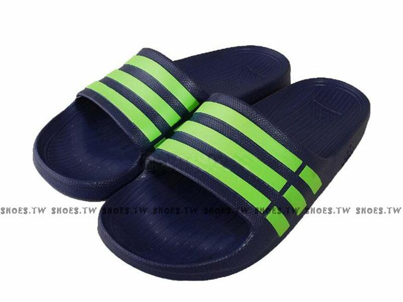 Shoestw【G95489】ADIDAS DURAMO SLIDE 拖鞋 一體成型 深藍螢光綠條 男女都有