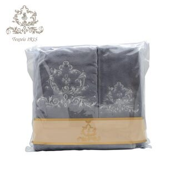 葡萄牙TexteisIRIS頂級棉製毛巾浴巾三件組(深灰底白色繡花)