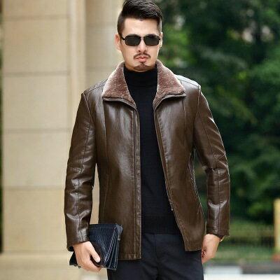 ★皮衣夾克外套-皮毛一體純色冬季男夾克2色73pn21【獨家進口】【米蘭精品】 0