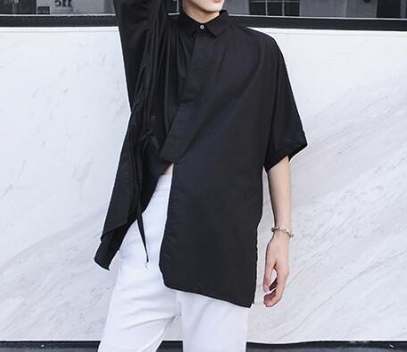 FINDSENSE Z1 韓國 時尚 潮 男 大尺碼 繫帶款 純色素面 短袖襯衫 五分袖襯衫 素面襯衫