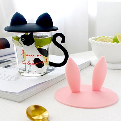 《波卡小姐》萌!貓咪兔兔立體耳朵杯蓋 防塵保溫情侶矽膠杯蓋 日式創意雜貨 zakka婚禮小物 情侶禮物 盒裝[FD-S019]