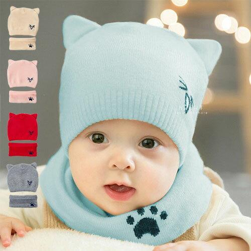 小花拉拉:貓咪尖耳柔軟針織保暖帽+脖圍2件組童帽保暖帽針織帽