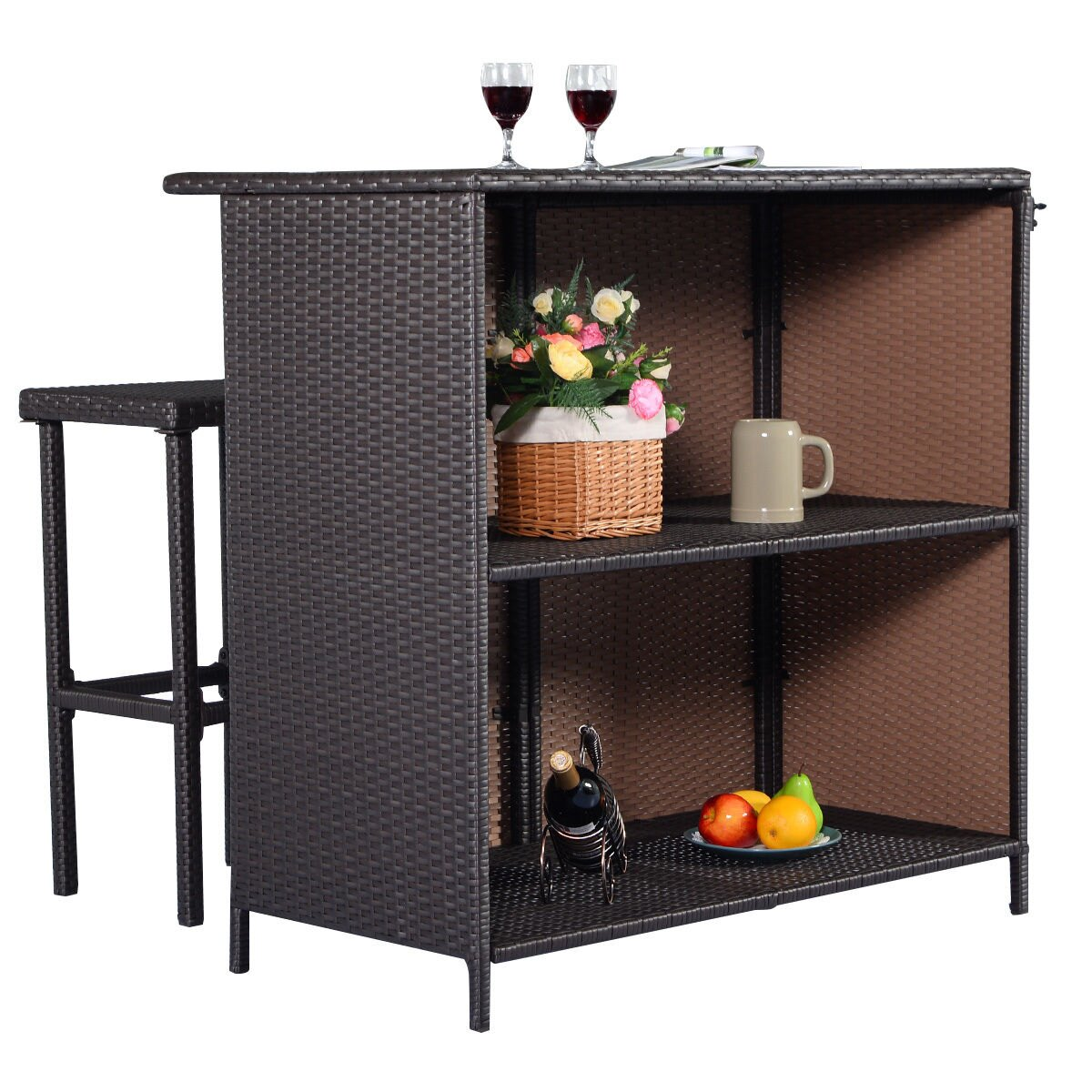 Costway 3PCS Rattan Wicker Bar Set Patio Outdoor Table & 2 Stools Furniture Brown 5