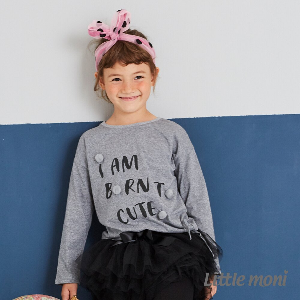 Little moni 立體毛球印圖綁帶上衣-灰色(好窩生活節) 1