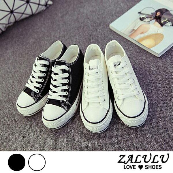 ZALULU愛鞋館7CE011預購美腿心機。厚底綁帶帆布鞋-偏小-白黑-36-40