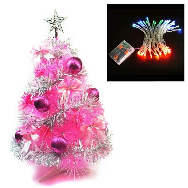 台灣製2尺(60cm)特級粉紅色松針葉聖誕樹 (銀紫色系配件)+50燈LED電池燈(四彩光) YS-WPT02205