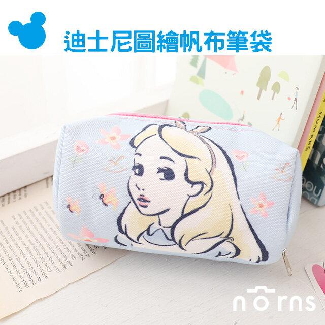 NORNS【迪士尼圖繪帆布筆袋】化妝包 鉛筆盒 收納包 愛麗絲 公主 Disney
