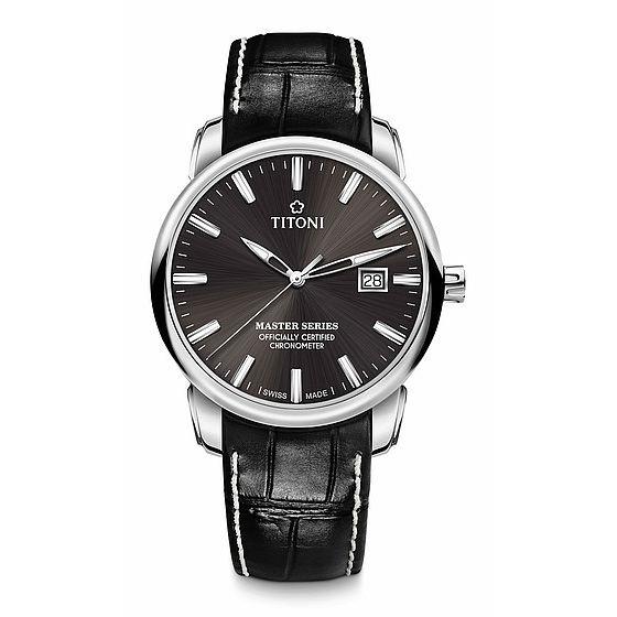 TITONI瑞士梅花錶大師系列 83188S-ST-576 精密時計自動機芯腕錶/咖啡面皮帶款 41mm