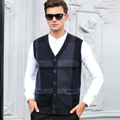 羊毛背心無袖針織衫-時尚帥氣男V領開衫上衣3色73ig16【獨家進口】【米蘭精品】