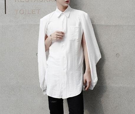 FINDSENSEZ1韓國時尚潮男純色素面袖子特殊個性設計長袖襯衫特色襯衫