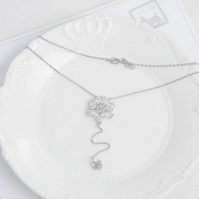 純銀項鍊 鍍白金水晶吊墜~ 奢華鑲鑽花朵情人節生日 女飾品73dw177~ ~~米蘭 ~