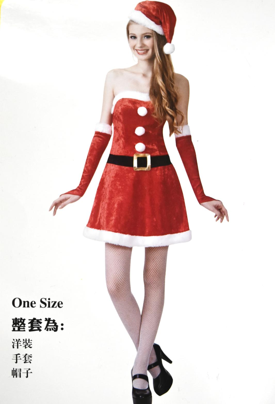 X射线【X380162】丝绒平口圣诞服(附袖套), 舞会/尾牙/万圣/圣诞/大人变装/cosplay/表演/摄影/写真/话剧/童话/性感/交换礼物
