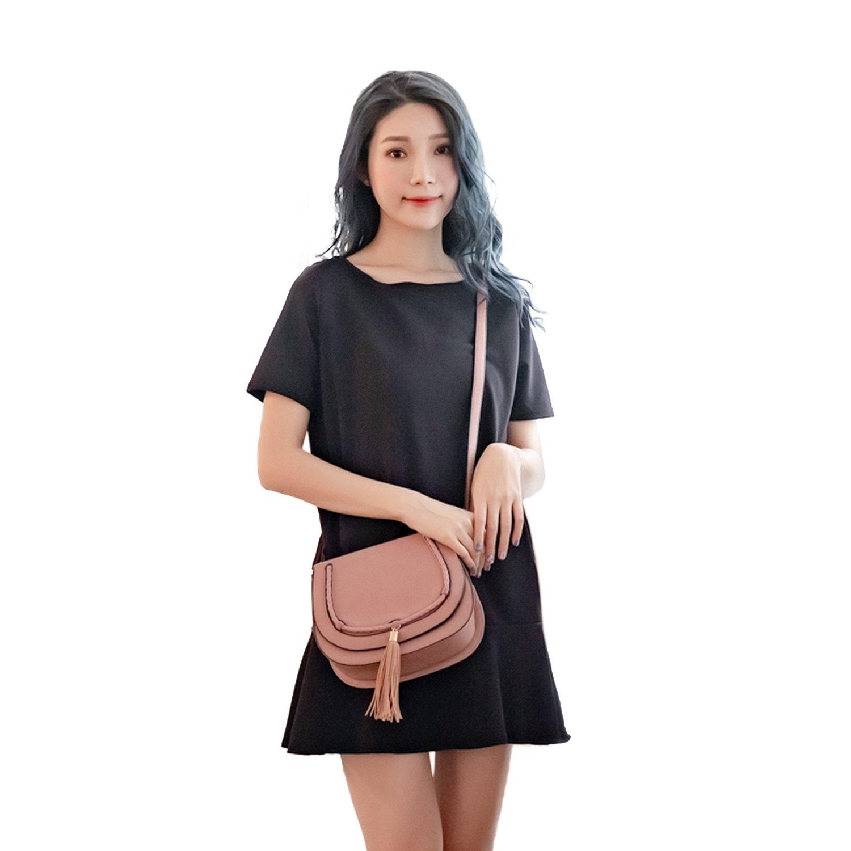 洋裝--名媛時尚優雅氣息圓領素面雙口袋拼接荷葉邊下擺連身洋裝(黑.紅XL-5L)-D404眼圈熊中大尺碼 0