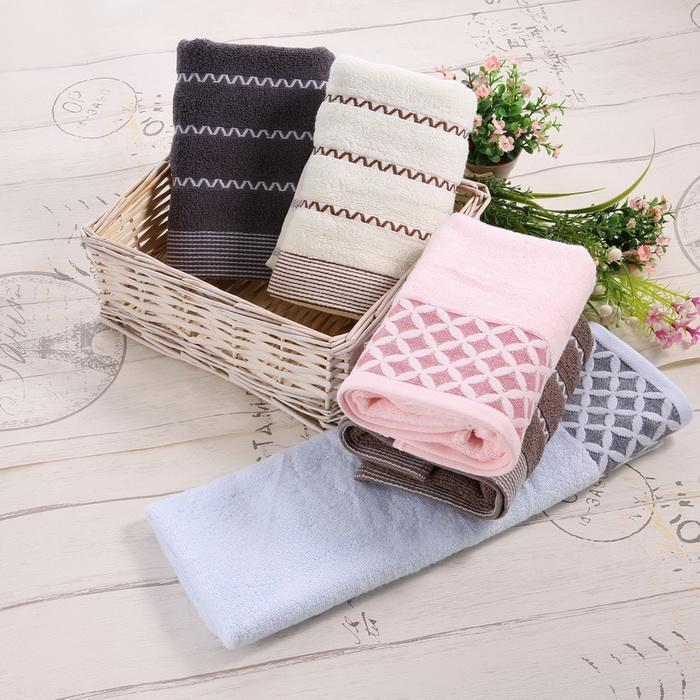 6PCS Cotton Bath Towel Face Shower Towels Set Striped 2