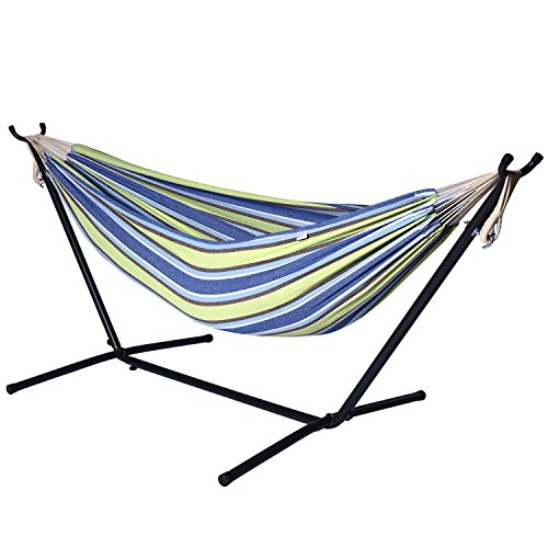 Camping Hammock With Stand Double Swing 2 Person Brazilian Style For Garden