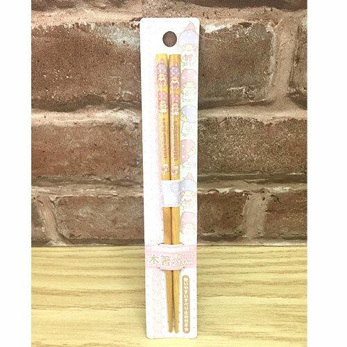 【真愛日本】15102000025 漆器天然木筷子-TS星蕾絲 三麗鷗家族 Kikilala 雙子星 餐具 筷子