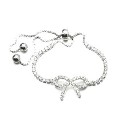 925純銀手鍊 鑲鑽手環 ~  蝴蝶結情人節生日 女飾品73dl56~ ~~米蘭 ~
