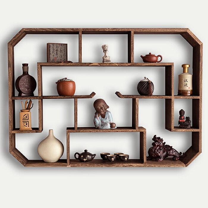 壁掛茶具架 多寶格 茶壺茶具架子置物架紫砂壺展示架壁掛牆上客廳裝飾博古架實木中式【全館免運 限時鉅惠】