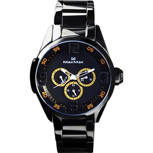 MaxMaxMAS7005-3陶瓷三眼酷炫腕錶-黑黃44mm