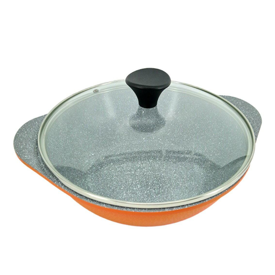 韓國Ecoramic鈦晶石頭抗菌不沾鍋  28 com 橘色 煮鍋 (附鍋蓋)