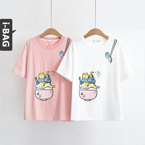 B.A.G*現+預*【TB1609】筷子貓咪印花短袖上衣(現+預)-2色