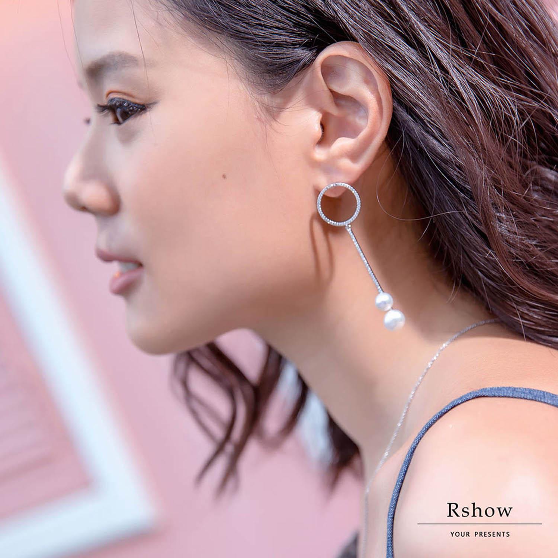 【Rshow】Minimal 幾何珍珠綴圈 垂墜耳環 0