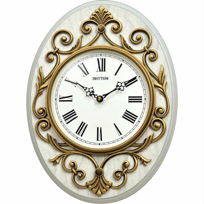 大高雄鐘錶城 RHYTHM 麗聲鐘(CMG775) 鐳雕裝飾圓形掛鐘/ 28.8cm