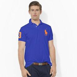 美國百分百【Ralph Lauren】Polo 衫 RL 短袖 網眼 大馬 素面 寶藍 男 S XS號 B003