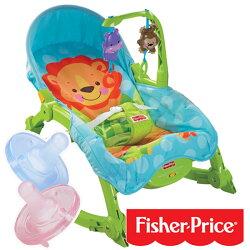 【奇買親子購物網】費雪牌 Fisher-Price 可愛動物可攜式兩用安撫躺椅+飛利浦 PHILIPS 5號 奶嘴