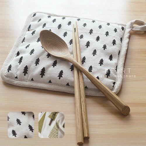 小花拉拉:簡樸小樹加厚隔熱墊隔熱墊布製隔熱墊加厚棉麻
