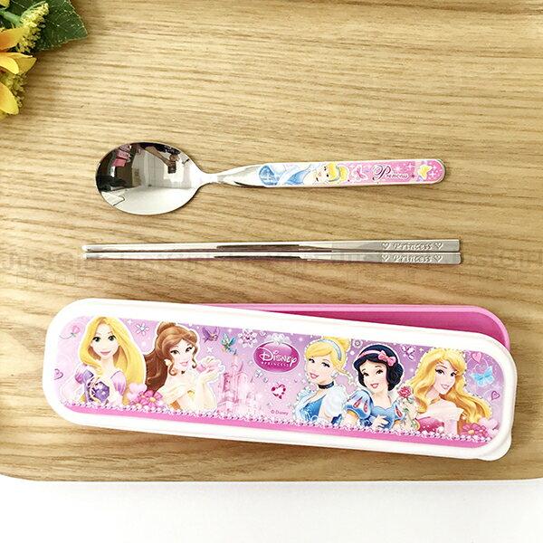 迪士尼 公主系列 湯匙 筷子 餐具盒 不鏽鋼環保餐具組 長髮公主貝兒白雪睡美人灰姑娘 正版韓國製造進口 JustGirl