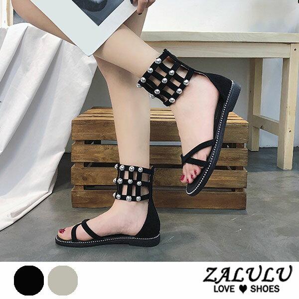 ZALULU愛鞋館7DE287預購珍珠線條套腳平底涼鞋-黑卡其-35-40