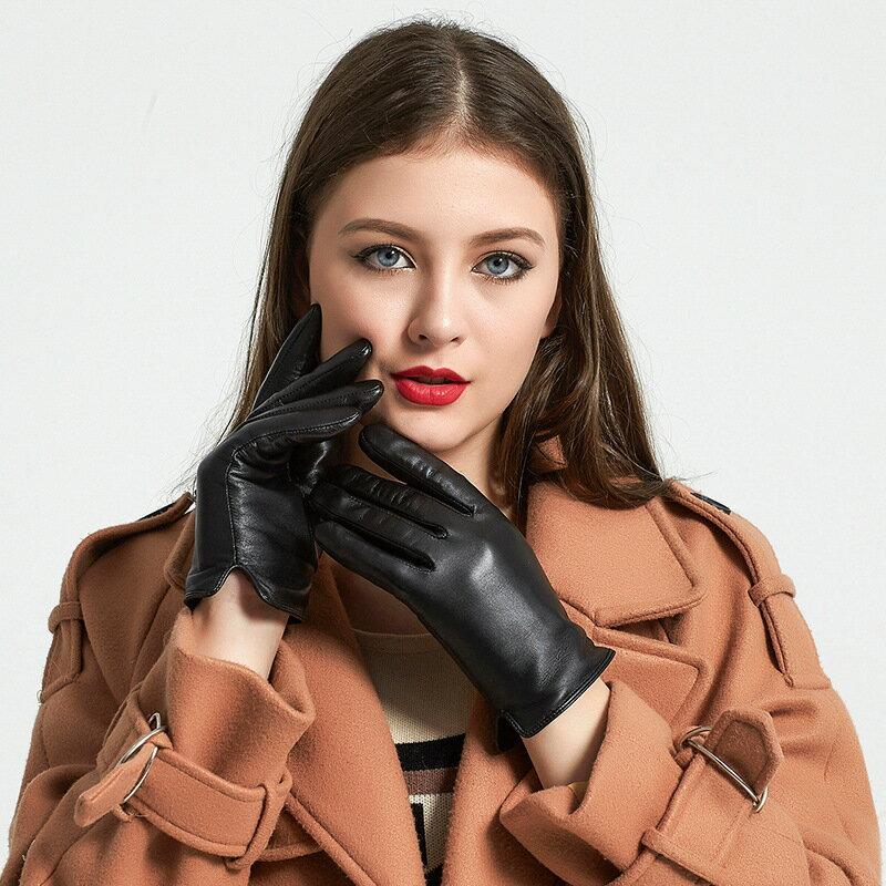 觸控手套真皮手套-山羊皮加絨經典光板女手套73wm52【獨家進口】【米蘭精品】 1