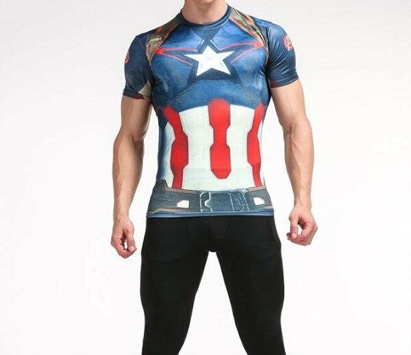 FINDSENSEMD日系時尚男高彈力緊身運動短T訓練服跑步健身T恤短袖T恤美式3D戰士圖案