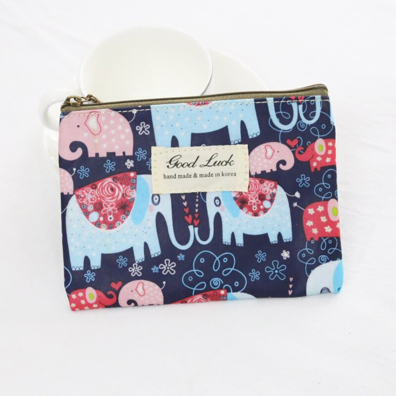 <br/><br/>  迷你可愛簡約小清新零錢包-藍色小象<br/><br/>